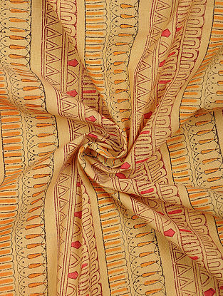 Brown Cotton Block Printed Fabric