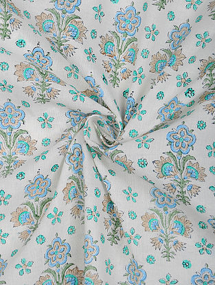 Ivory-Blue Cotton Block Printed Fabric