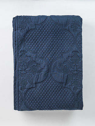Gulnar Navy Blue Handcrafted Cotton Bed Coverlet with Sham
