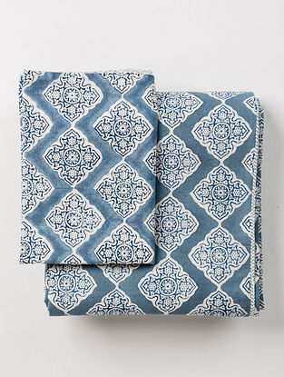 Renaissance White and Blue Handblock Printed Cotton Reversible Duvet with Pillow Cover