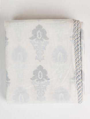 Renaissance White and Blue Handblock Printed Cotton Dohar