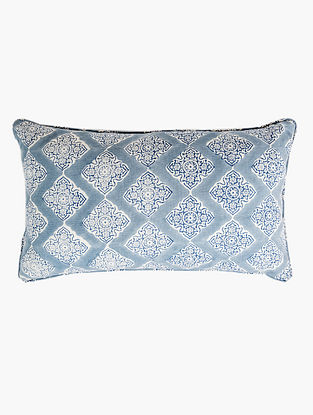 Diamond White and Blue Handblock Printed Cotton Cushion Cover (12in x 20in)