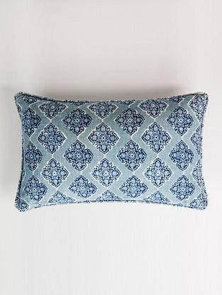 Diamond White and Blue Handblock Printed Velvet Cushion Cover (12in x 20in)