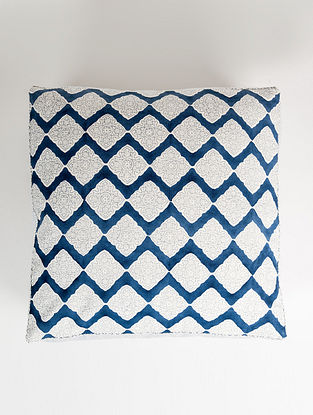 Diamond White and Blue Handblock Printed Cotton Cushion Cover (21in x 21in)