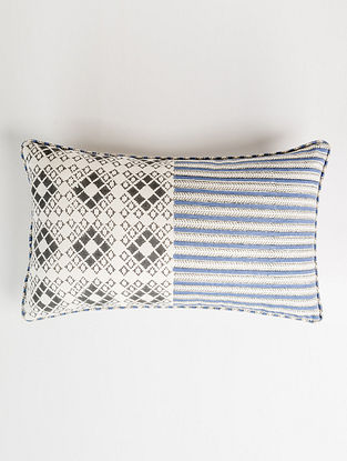 Khes White-Multicolor Handblock Printed Cotton Cushion Cover (12in x 20in)
