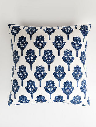 Tamra White and Blue Handblock Printed Cotton Cushion Cover (28in x 28in)