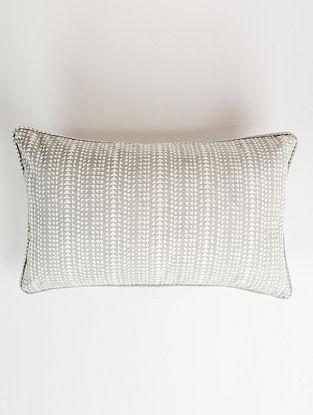 Kikri Grey and White Handblock Printed Cotton Cushion Cover (12in x 20in)