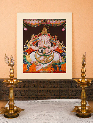Vastu Ganesh Multicolor Handmade Mysore Painting with Gold Leafing (27in x 30in)