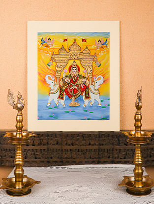 Goddess Laxmi Multicolor Handmade Mysore Painting with Gold Leafing (18in x 22in)