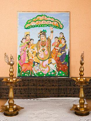 Govardhan Giridhari Krishna Multicolor Handmade Mysore Painting with Gold Leafing (23in x 28in)