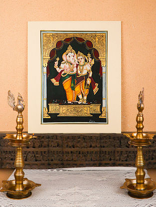 Ganesh with Kartik Multicolor Handmade Mysore Painting with Gold Leafing (18in x 24in)