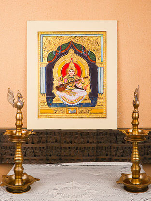 Saraswati Multicolor Handmade Mysore Painting with Gold Leafing (18in x 20in)
