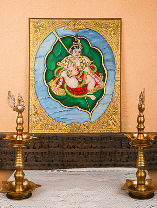 Leafing Krishna Multicolor Handmade Mysore Painting with Gold Leafing (23in x 26in)