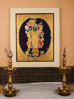 Shrinathji Multicolor Handmade Mysore Painting with Gold Leafing (23in x 26in)