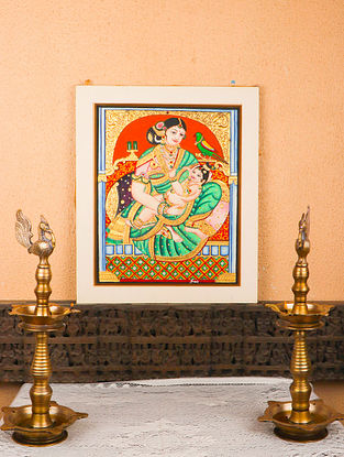 Yashoda Krishna Multicolor Handmade Mysore Painting with Gold Leafing (18in x 20in)