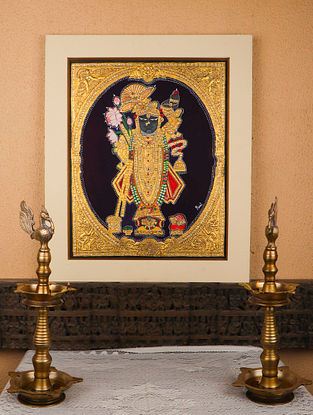 Shrinathji Multicolor Handmade Mysore Painting with Gold Leafing (12in x 15in)