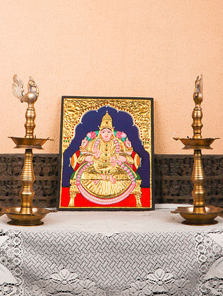 Laxmi Multicolor Handmade Tanjore Painting with Gold Leafing (12in x 14.75in)