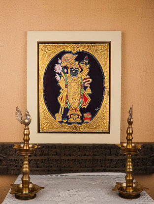 Shrinathji Multicolor Handmade Mysore Painting with Gold Leafing (7.5in x 5.5in)