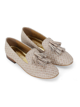 Beige Handcrafted Genuine Leather Shoes