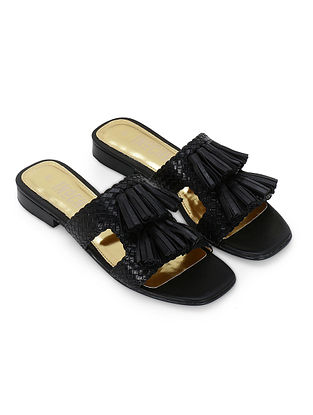Black Handcrafted Genuine Leather Flats