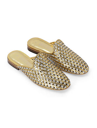 Silver Gold Handcrafted Genuine Leather Mules