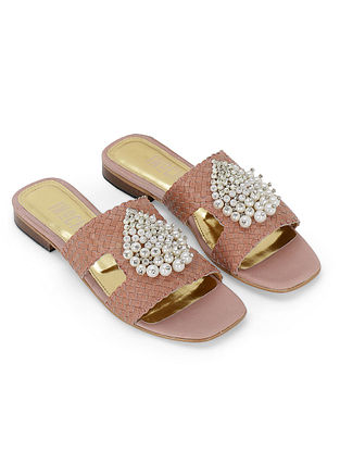 Pink Handcrafted Genuine Leather Flats