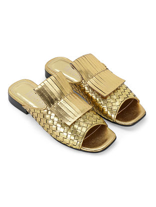 Golden Handcrafted Genuine Leather Flats
