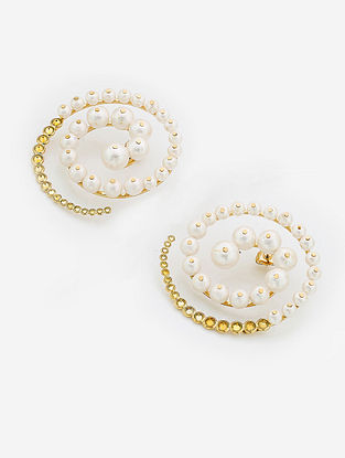 White Gold Plated Brass Earrings with Ball Pearls