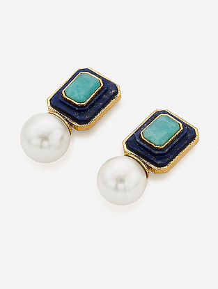 Blue-White Gold Plated Onyx-Marsala Quartz Brass Earrings with Pearl