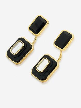 Black Gold Plated Onyx-Marsala Quartz Brass Earrings