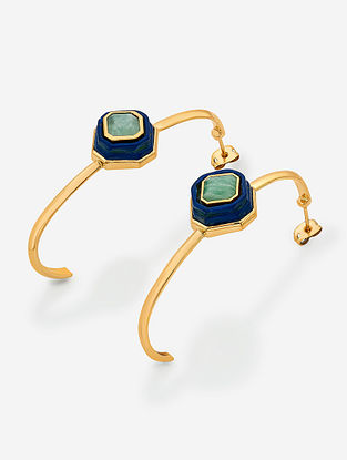 Blue Gold Plated Lapis-Amazonite Brass Earrings