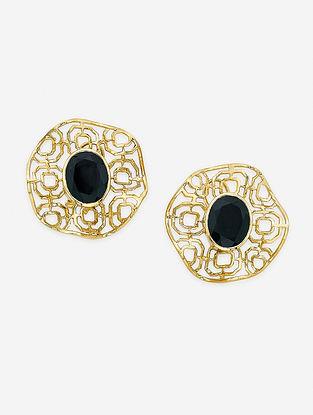 Black Gold Plated Enamel Onyx Brass Earrings