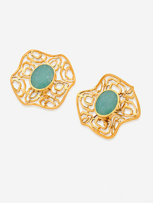 Blue Gold Plated Enamel Amazonite Brass Earrings