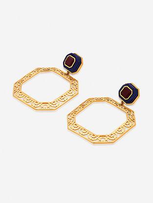 Maroon-Grey Gold Plated Lapis-Marsala Quartz Brass Earrings