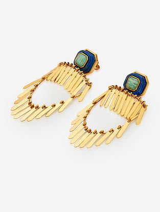 Green-Blue Gold Plated Lapis-Amazonite Brass Earrings