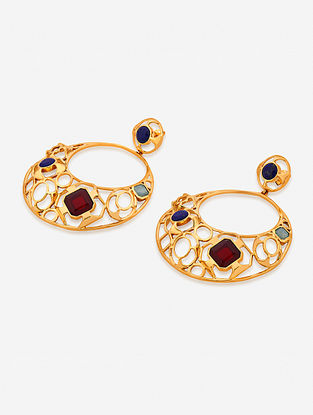 Multicolored Gold Plated Multistone Brass Earrings