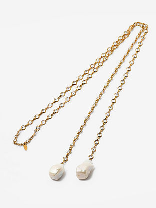 White Gold Plated Baroque Pearl Brass Necklace