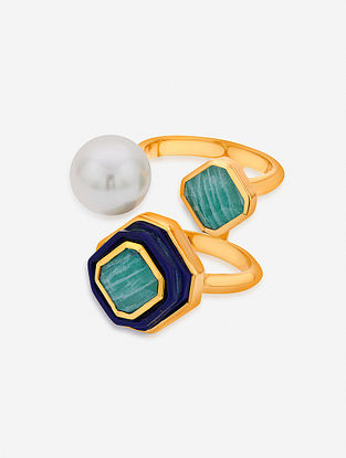 Blue Gold Plated Lapis-Amazonite Brass Ring with Pearl