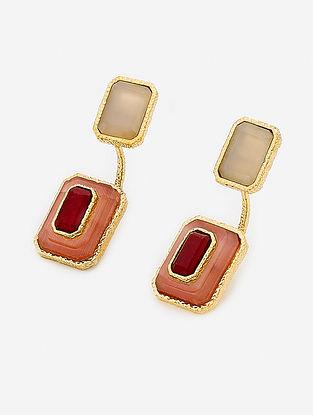 Maroon-Orange Gold Plated Onyx-Marsala Quartz Earrings