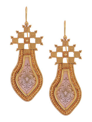 Mauve Gold-plated Silver Earrings