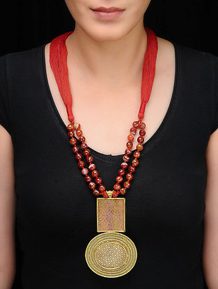 Red Beaded Gold-plated Silver Necklace