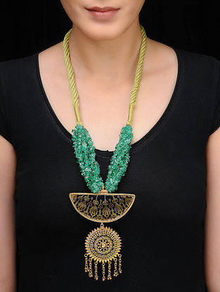 Green Beaded Gold-plated Silver Necklace