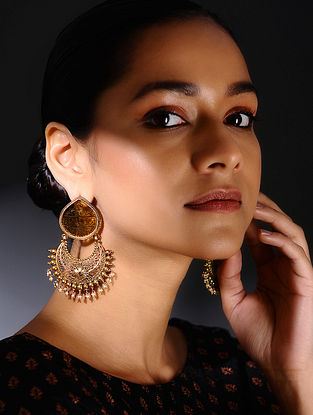 Yellow Glass Gold-plated Silver Earrings