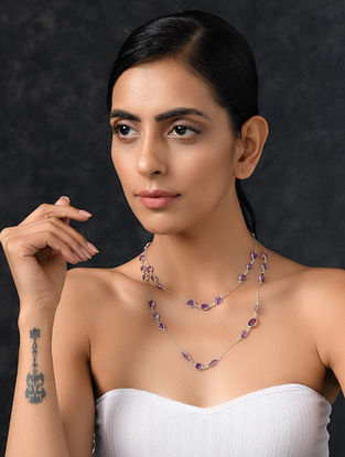 Classic Silver Necklace with Amethyst