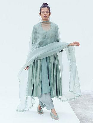 Sage Zari Hand Embroidered Organza Dupatta with Lace Details