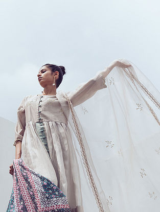 Ash Grey Zari Hand Embroidered Organza Dupatta with Lace Details