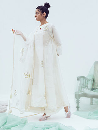 Ivory Pintucks Chanderi Pants with Lace Detail and Cotton Lining