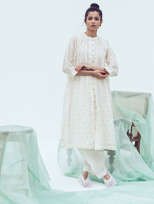 Ivory Chanderi Dhoti Pants with Belt and Cotton Lining