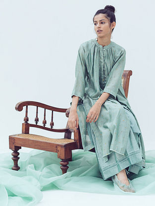 Sage Pintucks Chanderi Pants with Lace Detail and Cotton Lining