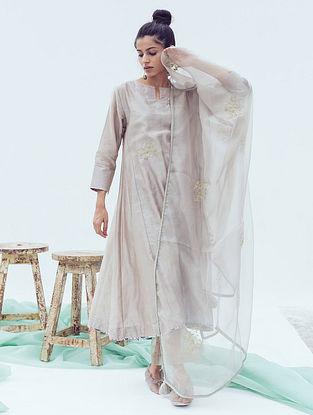 Ash Grey Madeline Zari Hand Embroidered Chanderi Kurta with Cotton Slip (Set of 2)